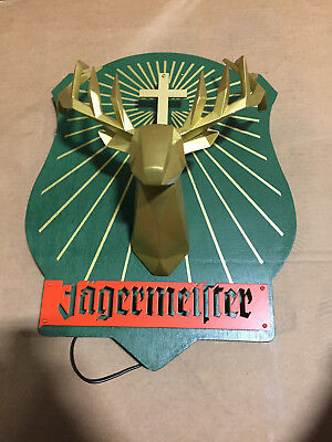 Rare Brand New Jagermiester 3D Stag Head Wooden Lit Wall Sign Free Shipping