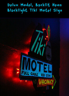 ORIGINAL Painting Tiki Motel Vacancy Neon Blacklight Polynesian CBjork Artwork