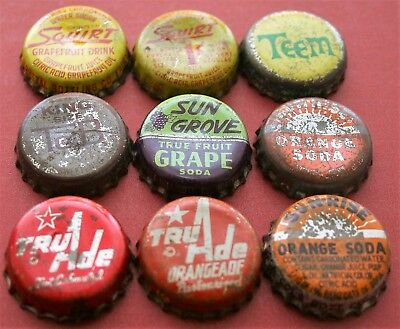9 Different Used Cork Lined Soda Bottle Caps; Ccsi; Lot 3