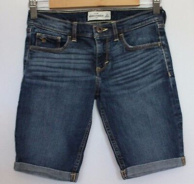 ABERCROMBIE KIDS ~ Indigo Distressed Denim Long Shorts with Cuffed Legs 16