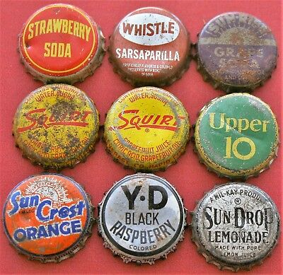 9 Different Used Cork Lined Soda Bottle Caps; Ccsi; Lot 1