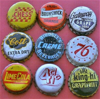 9 Different Used Cork Lined Soda Bottle Caps; Ccsi; Lot 2
