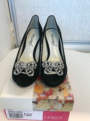 BN Black Suede Open Toe Shoes with Bling