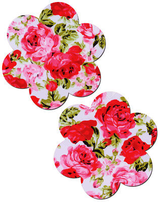 PASTEASE brand Pasties Red Rose on White Floral Printed Nipple Pasties
