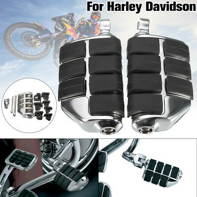 Pair Chrome Motorcycle Dually Foot Rest Pegs Pedal Mount For Harley Davidson m
