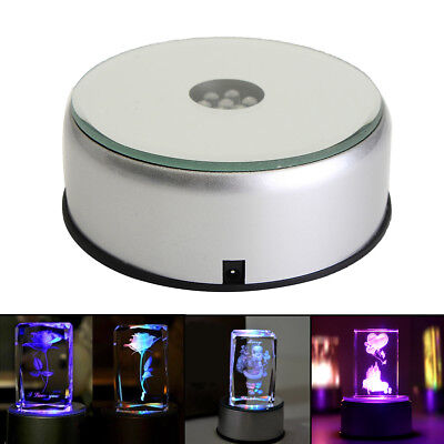 7 LED Colorful Light Unique Rotating 3D Crystal Display Base Stand W/ DC