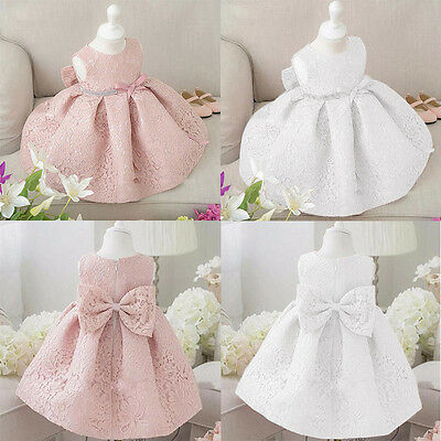 Flower Girl Dresses Lace Flower Wedding Bridesmaid Formal Party Dress UK Stock