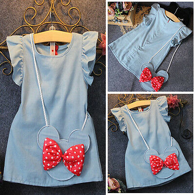UK Princess Kids Baby Girls Dress Minnie Mouse Denim Party Dresses Bag Clothes