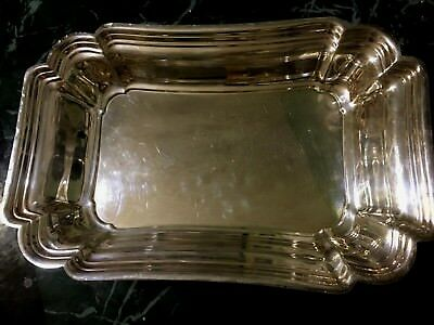 """Metal Silver  Bread Serviing Plate with handle 11"""" x 7"""""""
