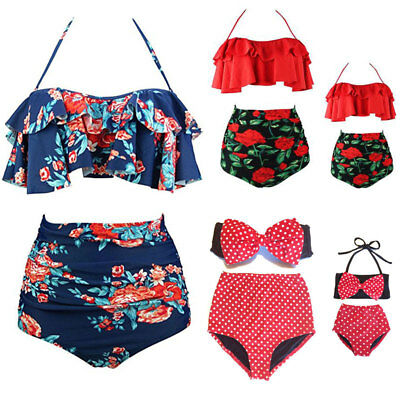 US Women's Mother Daughter High Waist Bikini Set Swimsuit Bathing Suit Swimwear