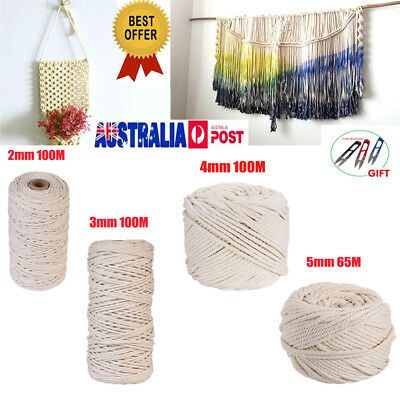 2/3/4/5mm Macrame Rope Natural Beige Cotton Twisted Cord Artisan Hand Craft NEW