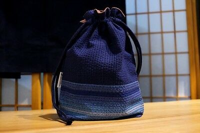Japanese Handbag Aizome Blue 藍染巾着