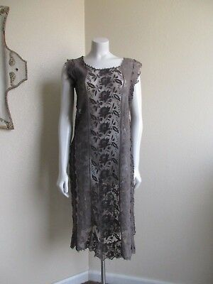 vintage 1920s embroidery lace net tambour drop chemise dress- small