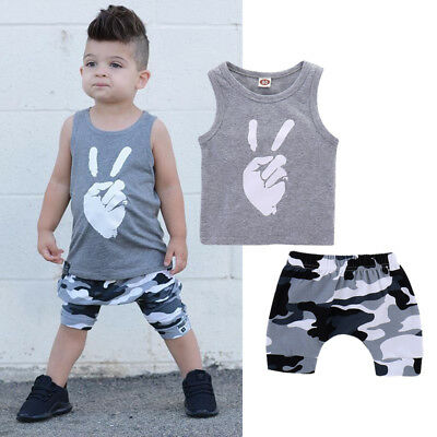Baby Boys Clothes Summer Sleeveless Tee+Shorts Pants Kids Boys Outfits Cartoon