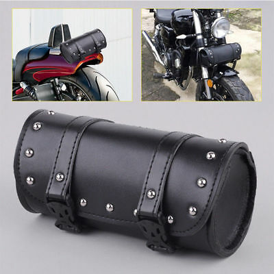 Synthetic Leather Motorcycle Tool Bag Fork Handlebar Saddlebag Roll Barrel EH