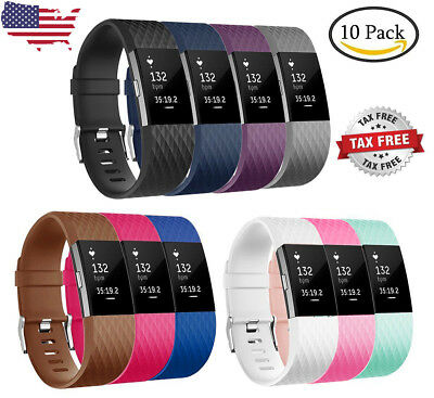 10 Pack Replacement Wristband Sports For Fitbit Charge 2 Band Fitness Small