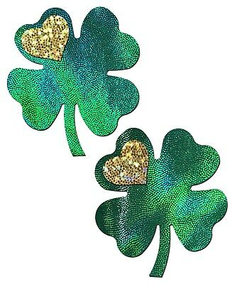 PASTEASE brand Pasties Glittery 4 Leaf Clover Nipple Pasties Buy 2 Get 1 Free