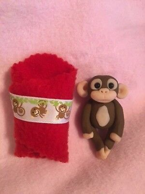 Baby Monkey With Red Blanket Figurine - OOAK - Handmade