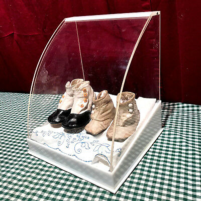 Antique Pair of Baby/Children Shoes Bakelite Button shoes  Acrylic Display RARE