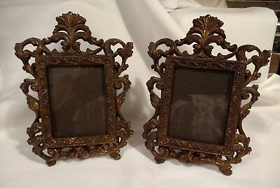 2 Vintage Scrolled Metal Victorian Table Top w Easel Picture Frame Pair Ornate