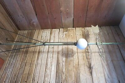 Vintage RARE Aluminum ARROW ORNAMENT W/Glass Globe Weather Vane Lighting Rod!