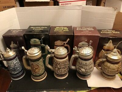 Lot Of 5 Avon Beer Stein W/ Cologne Lidded
