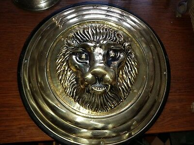 Stunning Unusual Antique Arts & Crafts Style  Brass Lion Wall Plaque