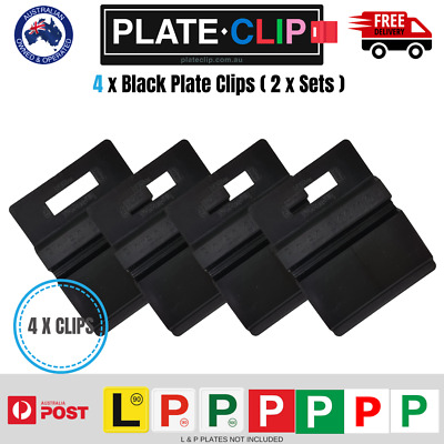 4 x Black Plate Clips L & P Plate Holders | Clip It On | FREE Postage!