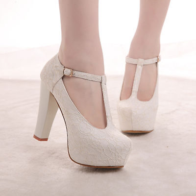 New Women's Closed Toe Cut-Out Mary Jane Stiletto High Heel Platform Pumps Shoes