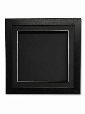 3D square deep memory box picture for medals, objects, memorabilia - black mount