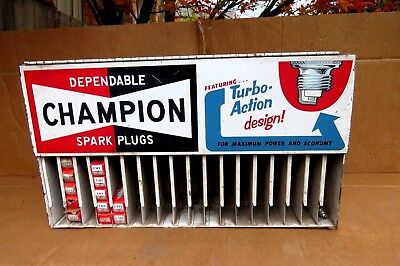 Champion Spark Plugs Rack Wall Cabinet Tin Suit Holden Hk Ht V8 Ford Xw Etc