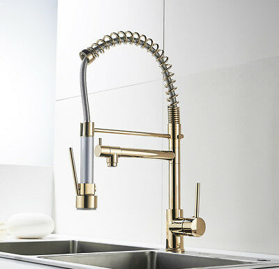 ROSE GOLD Swivel Spout Kitchen Sink Faucet Pull Out Sprayer Mixer ...