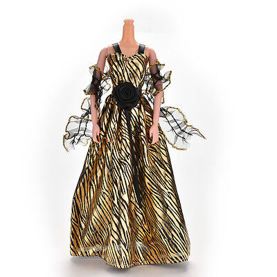 Stripe Golden Luxury Grown Widding Dress for Barbies with Shawl FF