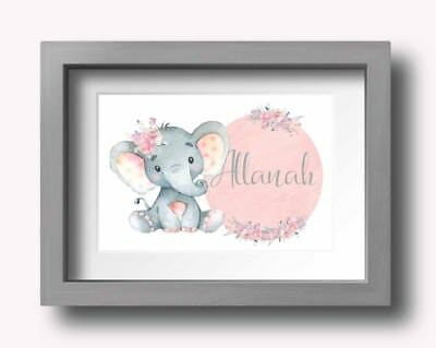 A4 Nursery/Baby wall decor print watercolour flowers and elephant with name