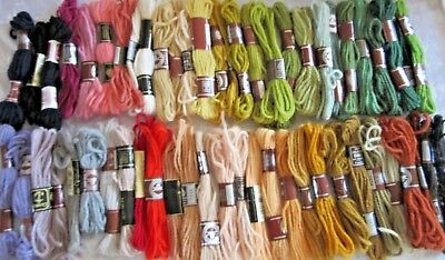 TAPESTRY WOOLS x 32 - Mostly D.M.C.,some Semco - 100% wool - Variety of colours.