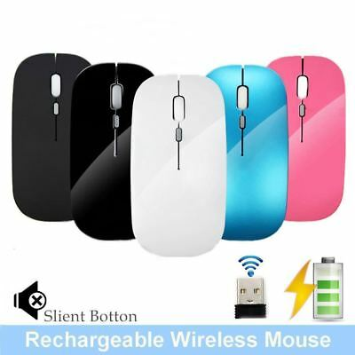 2500DPI 2.4GHz Rechargeable Wireless Mouse Silent Button Slim USB Optical Mice