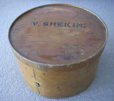 VINTAGE WOODEN (PLY) HAT BOX, with white hat
