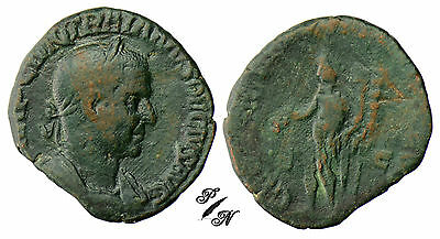 PN0063 - VERY RARE SESTERTIUS - TRAJAN DECE - the genius of l'army illyrian