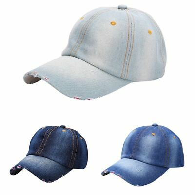 UK Men's Women's Sports Hat Casual Denim Baseball Ball Cap Sun Plain Jeans Hats