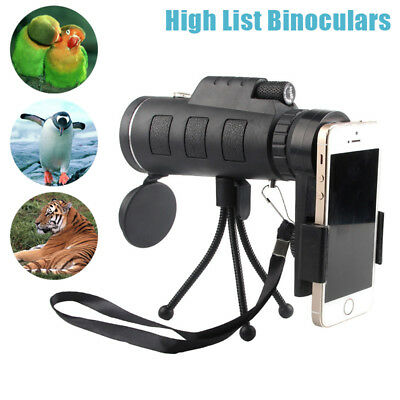 40X60 HD Mini Monocular Telescope With Phone Clip Tripod Compass For Outdoor