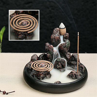 Mountain Backflow Incense Burner Buddhist Censer Stick Cones Holder Home Decor
