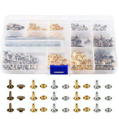 210 Set 6/8mm Double Cap Leather Rivets Tubular Metal Stud Tool Kit Craft Repair