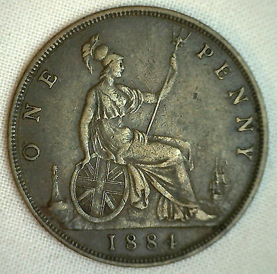 1884 Great Britain Penny KM#755 Very Fine Bronze #P