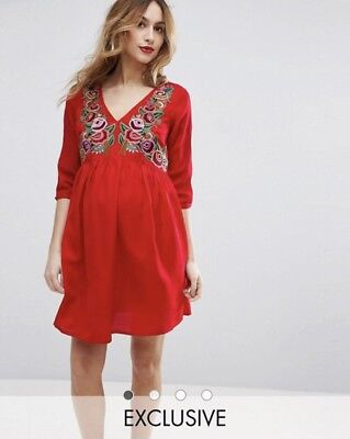 ASOS Embroidered red maternity dress