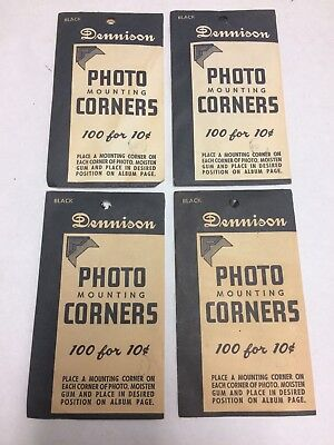 1950s NEW OLD STOCK Dennison Photo Mounting Corners 100 Count Gummed Sealed