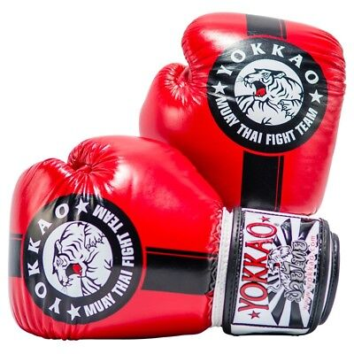 Yokkao Official Fight Team Boxing Gloves Red Black Muay Thai K1 Boxing Training