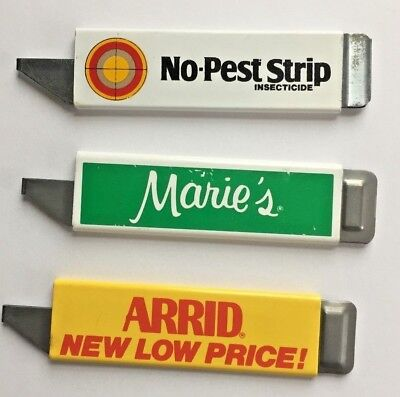 """3 Vintage Box Cutters Advertising """"no Pest Strip"""" - """"marie's"""" - """"arrid"""""""