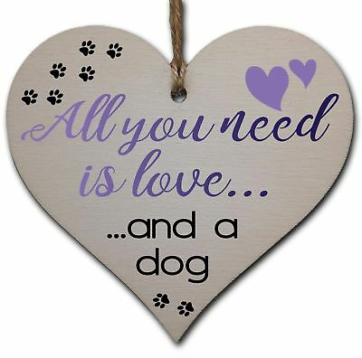 Handmade Wooden Hanging Heart Plaque Gift for Dog Lovers Novelty Funny Keepsake