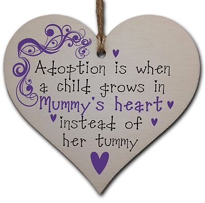 Handmade Wooden Hanging Heart Plaque Gift to Celebrate Adoption