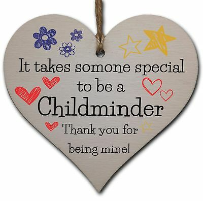 Handmade Wooden Hanging Heart Plaque Gift for Special Childminder Thank You Keep